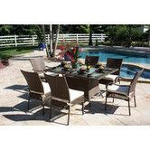 Found it at Wayfair - Grenada 7 Piece Dining Set. Also available in white.