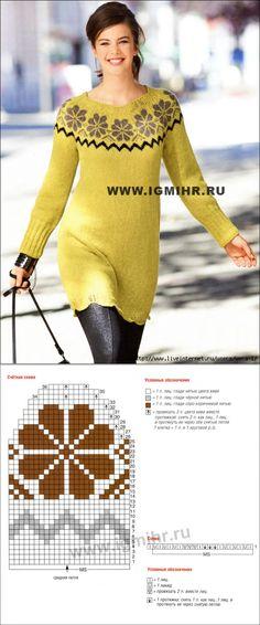 Платье с круглой кокеткой из норвежских звезд и узкими планками с волнистым узором.