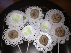 Custard/cupcake toppers. Burlap and paper flowers. #communion
