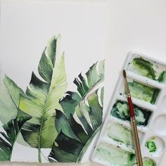 I find this Watercolor painting by rather charming. Would you agree? Watercolor Plants, Watercolor Leaves, Watercolour Painting, Painting & Drawing, Watercolor Design, Watercolors, Leaf Drawing, Watercolor Sketch, Artist Painting