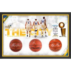 "Stephen Curry, Klay Thompson, Kevin Durant Golden State Warriors Fanatics Authentic Framed 52"" x 34"" 2017 NBA Finals Champions Shadowbox with Autographed Basketballs - Limited Edition of 35"