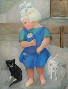 Gabriele Münter (German, 1877-1962) - Little girl with cats, 1927
