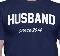 Husband Since 2014 T-Shirt    Below are the specifications of the custom printed t-shirt.    PRINT METHODS  Each garment is printed after you order it. It is printed directly on the garment using water based eco-friendly inks. This is NOT an iron-on. The design will look great as long as you care for it and dont wash/dry it hot or iron the design.      MENS SIZING  ________________    The Mens t-shirt is a Gildan 2000 which is a standard sized t-shirt. They are true to size.      Size - ...