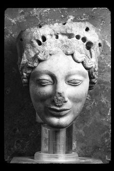 Head of a kore, circa 500 BC.   Taken by the Acropolis Museum. Athens, Greece. Scanned by Minolta Scan Dual IV.