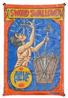 HANDPAINTED CIRCUS SIDESHOW BANNER SWORD SWALLOWER