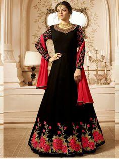 4c6f2bb61e6 Buy Black Madhubala Designer Georgette Anarkali Suit - Best Price–Liinara