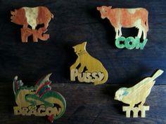Retro Wood Animal Pins / English Shop by EnglishShop on Etsy, $35.00