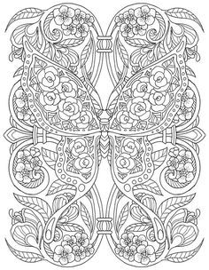 Adult Coloring Page from Pour Prendre Mon Envol Coloring Book. Butterfly Coloring Page, Mandala Coloring Pages, Animal Coloring Pages, Coloring Pages To Print, Free Coloring Pages, Coloring Books, Colorful Drawings, Colorful Pictures, Printable Adult Coloring Pages