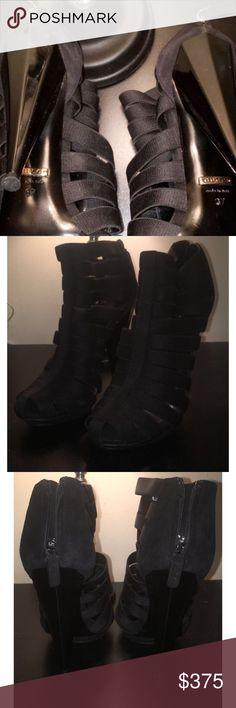Black Elastic Isadora Gladiator Platform Boots Authentic Gucci Black Elastic Isadora Gladiator Platform Boots Never Worn Outdoors  Worn Indoors For A 3 Hour Photoshoot Gucci Shoes Platforms