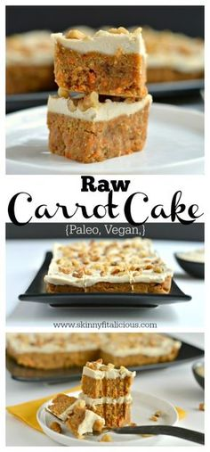 Paleo Raw Carrot Cake is a spin on a traditional favorite! Made with a carrot date and walnut base this delicious cake is topped with a silky cashew maple coconut icing that's surprisingly healthy and good for you. This is what carrot cake dreams are ma Bolo Vegan, Cake Vegan, Raw Vegan Desserts, Raw Cake, Brownie Desserts, Raw Vegan Recipes, Vegan Dessert Recipes, Vegan Treats, Vegan Foods