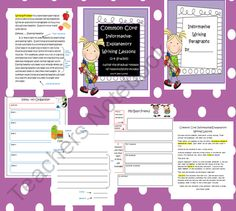 Common Core Informative-Explanatory Writing Lessons (using gradual release of responsibility model) from Seejaneteachmultiage on TeachersNotebook.com (28 pages)  - These Informative-Explanatory writing lessons will have your students writing super paragraphs. The lessons are designed to use the gradual release of responsibility model.