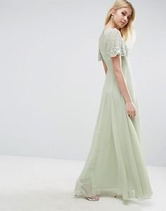 ASOS Pretty Embellished Flutter Sleeve Maxi Dress - Green