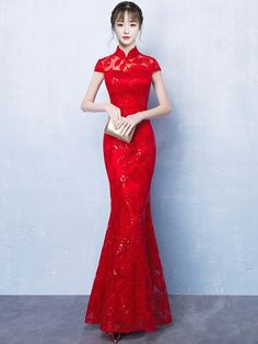 5b390102a0a Red Sequined Fishtail Qipao   Cheongsam Wedding Dress