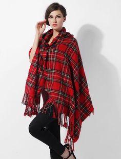 cd685beb130 2017 Ladies Warm Winter Hooded Wrap Poncho Wool Blends Lush Cape