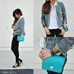 Sugarlips Chain And Boucle Jacket, Zara Stone Messenger Bag, Zara Basic Sandals Chanel Jacket, Boucle Jacket, Career Wear, Outfit Combinations, My Wardrobe, Cute Outfits, Zara, Teal, Street Style