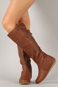 Bank-36 Buckle Round Toe Knee High Boot