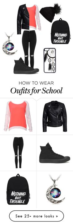 """""""School day """" by xjustanothergirlxx on Polyvore featuring Topshop, Sandro, Converse, Sisters Point, Halogen and CellPowerCases"""