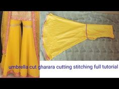 Too inspiring and trending umbrella cut ghrara cutting stitching full tutorial Frock Patterns, Baby Dress Patterns, Neck Designs For Suits, Designs For Dresses, Gharara Designs, Simple Kurta Designs, Girls Dresses Sewing, Baby Dresses, Stitching Dresses