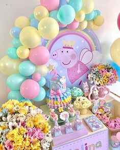 Peppa Pig Birthday Decorations, Pig Birthday Cakes, Minnie Birthday, 3rd Birthday, Birthday Parties, Picnic Parties, Fiestas Peppa Pig, Cumple Peppa Pig, Princess Peppa Pig Party
