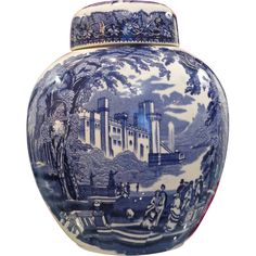 Mason's Vista Blue & White vase with cover, 20th century from chateau on Ruby Lane