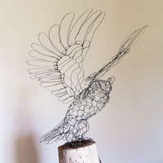Great Horned Owl Wire Sculpture by sparkflight...