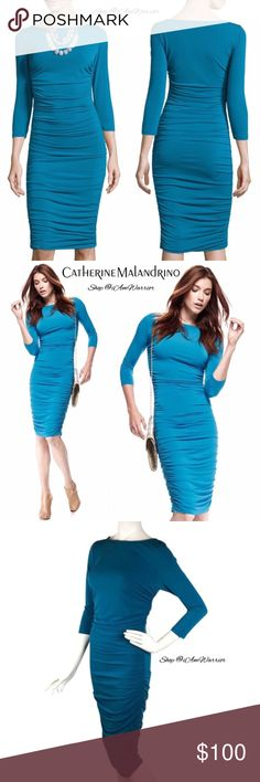 Catherine Malandrino NWT blue ruched dress Gorgeous silky stretch fitted dress with side ruching for sexy fit. 3/4 sleeves, midi length. Brand new with tags. Size medium. Please read updated bio regarding closet policies prior to any inquiries. Retailed at $180, price is firm please. Catherine Malandrino Dresses Midi