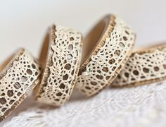 Napkin Rings Organic Bamboo Vintage French Lace Beige Set of Four OOAK Holiday Home Decor  teamcamelot tbteam elitett. €14,00, via Etsy.