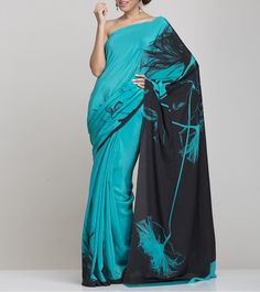 Black And Blue Silk Saree