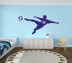 Our Personalized Soccer Wall Decal is a great option for kids room and baby nursery decor.  This is a cute personalized soccer wall decal set