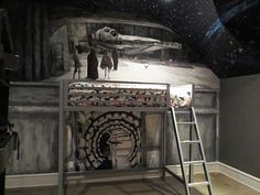 Most epic Star Wars mural a kid's room has ever seen! #starwars