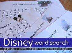 """haven't shown them their Disney Word Searches yet–they're a surprise for the plane, for those inevitable waits during travel, for whenever we need them.  I think they'll even be a good down-time activity in the hotel between trips to the pool, the park, or conference events."""