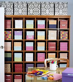 Cubbyhole storage for craft rooms is really starting to grow on me. #craft #room #studio #scrapbooking #home #decor #organization #storage