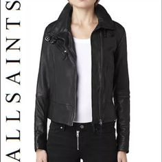 NWOT Allsaints Black leather jacket US8 Perfect leather jacket! Fits a bit snug for an 8 (more like a roomy 6) never been worn.sold out online. All Saints Jackets & Coats