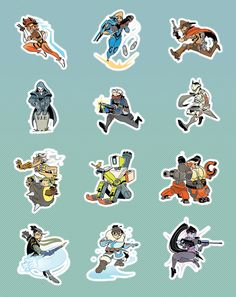Super cute fan-made Overwatch stickers: Tracer, Pharah, McCree, Reaper, Soldier 76, Genji, Junkrat, Bastion, Torbjorn, Hanzo, Mei, and Widowmaker