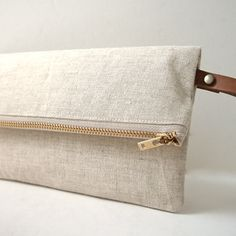 Linen Clutch with Leather Wrist Strap by Independent Reign