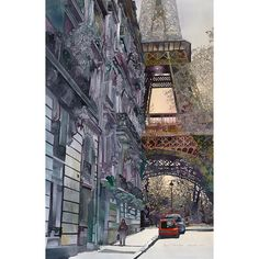 Paris, France - La Tour Eiffel by John Salminen, watercolor Paris Kunst, Paris Art, Maurice Utrillo, Art Watercolor, Arte Sketchbook, Paris Ville, Urban Landscape, Landscape Art, Art Photography