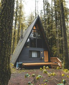 backyard studio is usually a shed or granny flat you put to good purpose by building or renovating it to serve as a studio. A backyard studio can be a Tiny House Cabin, Cabin Homes, House Porch, Tiny Homes, Cabins In The Woods, House In The Woods, Style At Home, Cabin Design, House Design