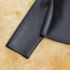 Sexy Womens Slim Black Biker Motorcycle Synthetic PU Leather Zipper Jacket Coat