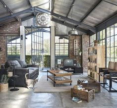 Industrial Interior Design, Industrial Interiors, Industrial House, Industrial Style, Home Interior Design, Industrial Bench, Urban Industrial, Warehouse Living, Warehouse Home