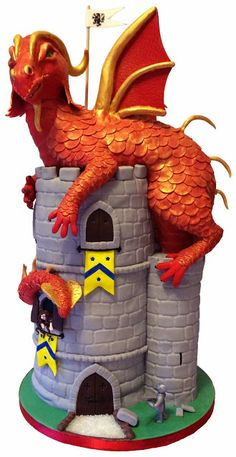 Elaine's Sweet Life: Dragon atop a Castle - a Medieval Cake