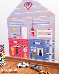 Dollhouse for Boys Police & Fire Station Fabric by LichiBlue