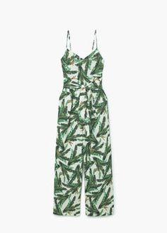 Vestito a tuta corto stampa tropicale