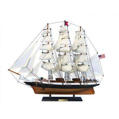 """Sold Price: (3) BOAT MODELS - All full hull, fully rigged without sails, no cases, Baltimore Clipper """"Lark"""", modeled after a privateer of 1812 involved in the slave trade, 20"""" x 23"""" x 8""""; PLUS Unmarked Brigantine Privateer, 15"""" x... - May 6, 0116 11:00 AM EDT Model Ship Kits, Model Ships, Small Boats, Model Airplanes, Photo On Wood, Back Seat, Tall Ships, Sailing, Clouds"""