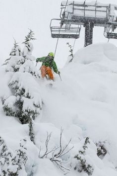 Zack Giffin taking the technical line below the chairlift at Mt. Baker. Looks more like he's skiing the treetops to me! That's a whooooole lotta snow!
