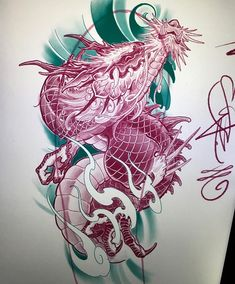 Great dragon art/design done by artist 🔥 Japanese Tattoos For Men, Japanese Dragon Tattoos, Japanese Tattoo Art, Japanese Sleeve Tattoos, Chinese Tattoo Designs, Dragon Tattoo Designs, Asian Dragon Tattoo, Dragon Sketch, Tattoo Trend