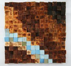 Leña madera recuperada de la pared arte mosaico de por GBandWood