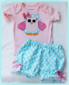 Super Cute Whimsical Owl Applique Onesie and Bloomers Set 0-3m-24m. $27.00, via Etsy.