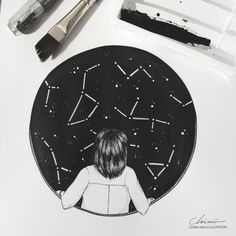 """We are made of Starstuff""by Chimù  [Ink, graphite, acrylic paint]    ""The nitrogen in our DNA, the calcium in our teeth, the iron in our blood, the carbon in our apple pies were made in the interiors of collapsing stars. We are made of starstuff.""  ― Carl Sagan, Cosmos"