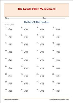 This math worksheet lets your child practice dividing numbers by . Dividing and finding remainders, numbers . Common Core Standards: Grade 3 Operations & Algebraic Thinking, Grade 4 Number & Operations in Base Ten. 4th Grade Multiplication Worksheets, Math Division Worksheets, Math Coloring Worksheets, 4th Grade Math Worksheets, Algebra Worksheets, 3rd Grade Math, Printable Worksheets, Number Worksheets, Grade 3
