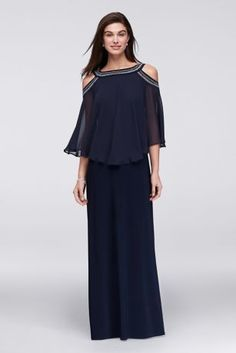 Rows of beading encircle the neck and open shoulders of this long jersey gown's flowing chiffon capelet.   By Alex Evenings  Polyester, spandex  Back zipper; fully lined  Dry clean  Imported  Also available in plus size